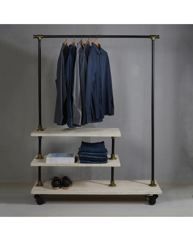 HomArt Refinery Wood and Iron Hall Tree  Black, Brass and White Wood