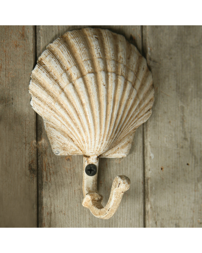 HomArt Seashell Wall Hook - Cast Iron - Scallop - Antique White
