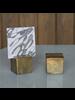 HomArt Chiseled Place Card Holder, Brass - Square - Set of 2