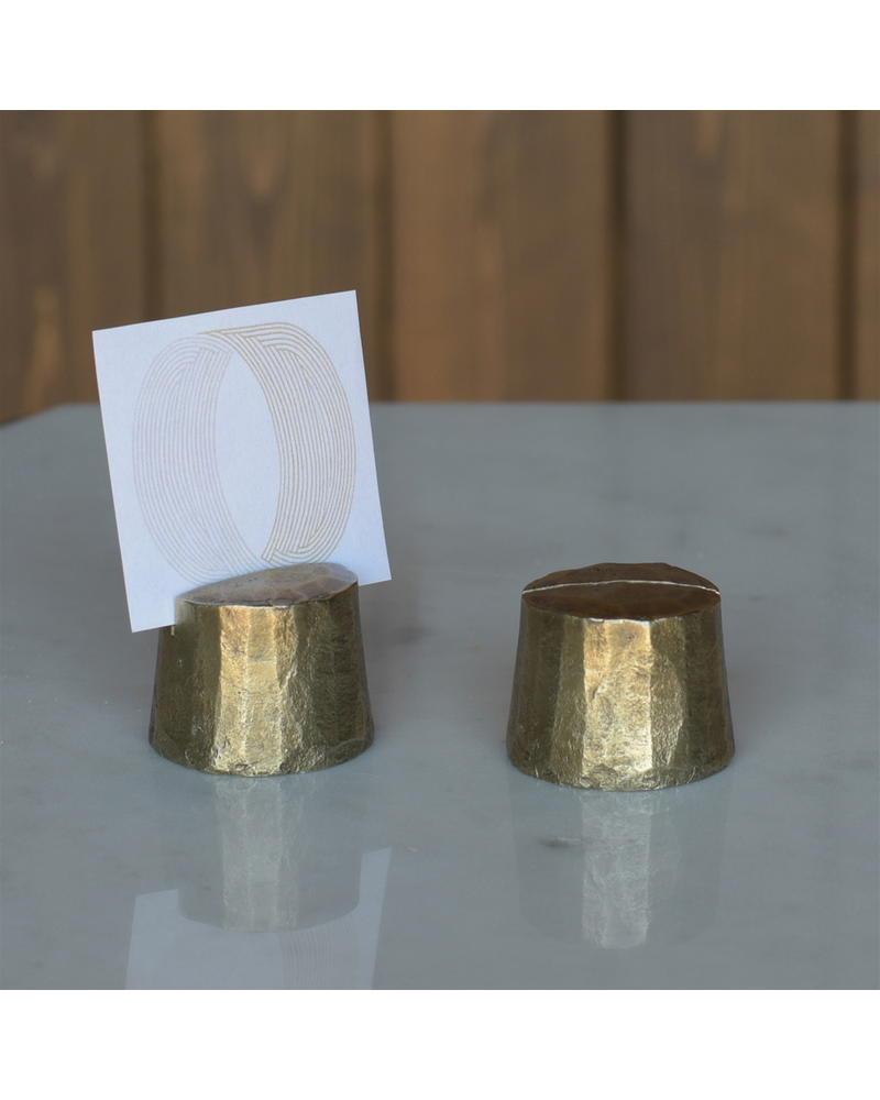 HomArt Chiseled Place Card Holder, Brass - Stump - Set of 2