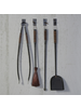 HomArt Cajon Fireplace Tools, Set of 4 with Hooks - Black