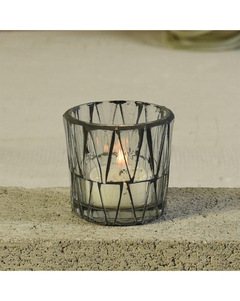HomArt Jax Mosaic Tealight Holder, Glass - Sm - Set of 2