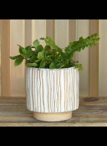 "HomArt Ramos Vertical Stripe Cachepot, Stoneware - 2.5"" - Set of 2"