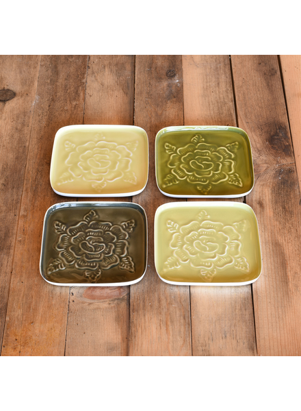 HomArt Tilda Rose Coasters, Enamel, Set of 4 - Greens - Greens