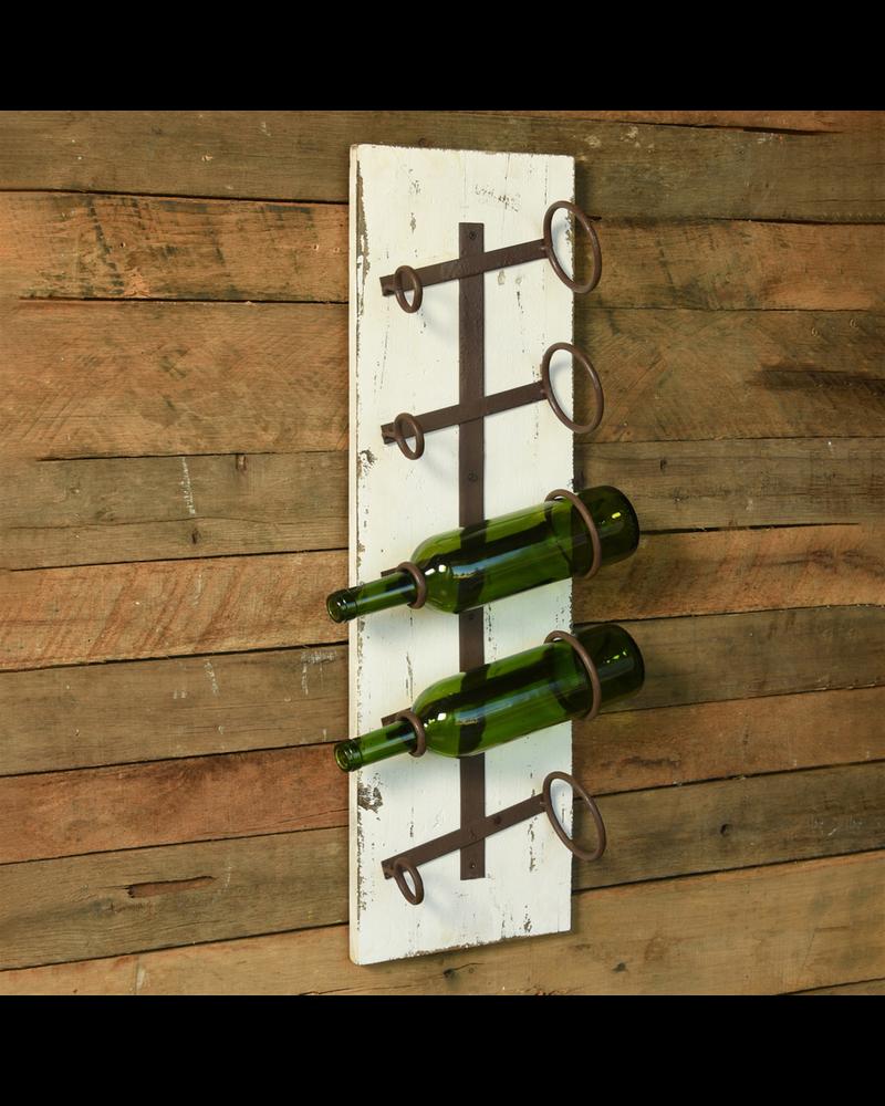 HomArt Bungalow Wine Rack, Wood & Iron