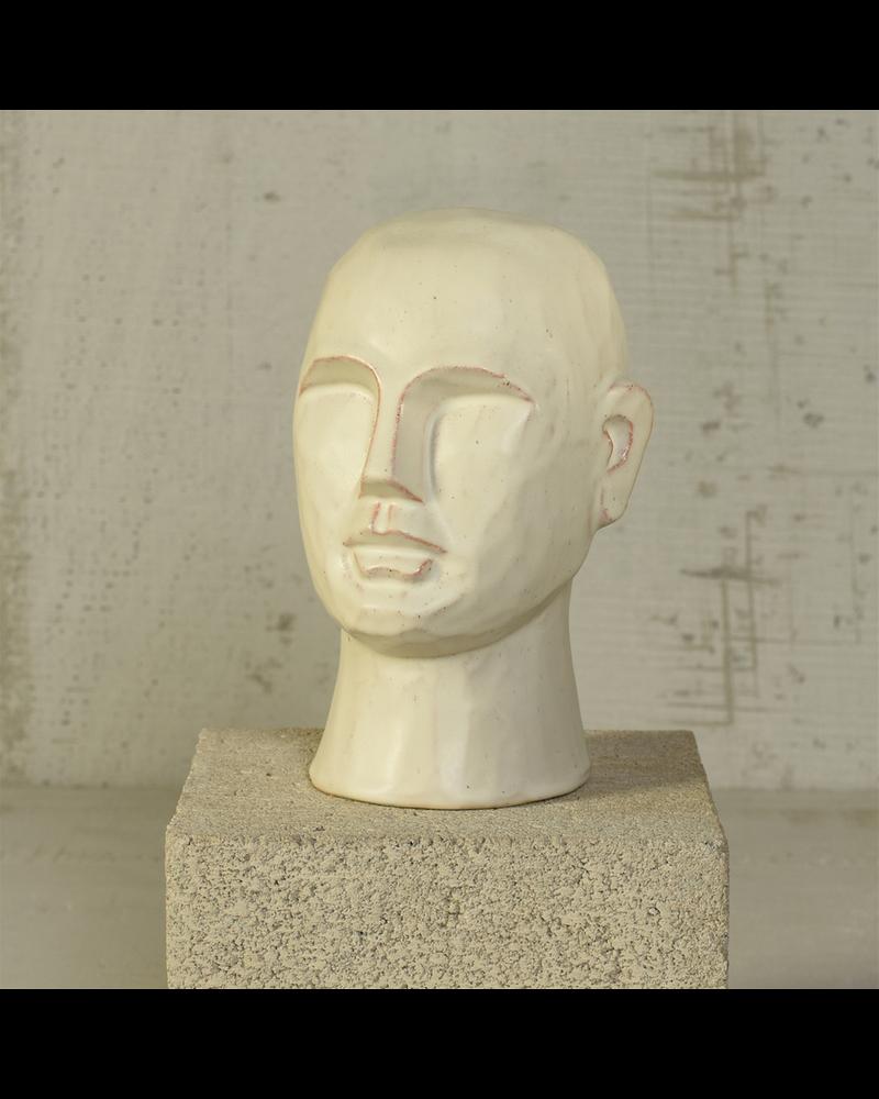 HomArt Gris Geometric Bust, Ceramic, White - Sm - Matte White