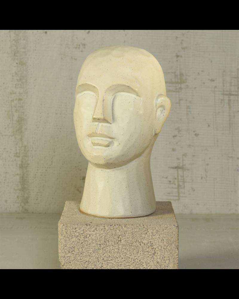 HomArt Gris Geometric Bust, Ceramic, White - Lrg - Matte White