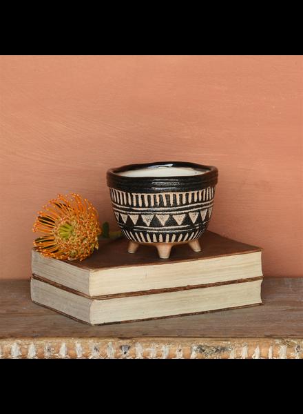 HomArt Apache Print Bowl, Ceramic - Sm - Black & Natural