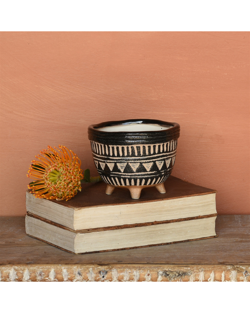 HomArt Apache Print Bowl, Ceramic - Sm - Black & Natural