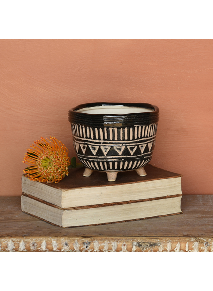 HomArt Apache Print Bowl, Ceramic - Med - Black & Natural