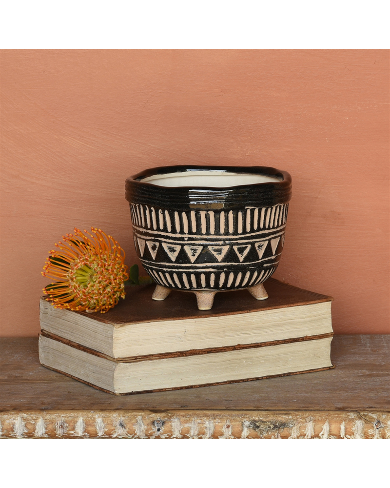 HomArt Apache Print Bowl, Ceramic - Med - Black & Natural