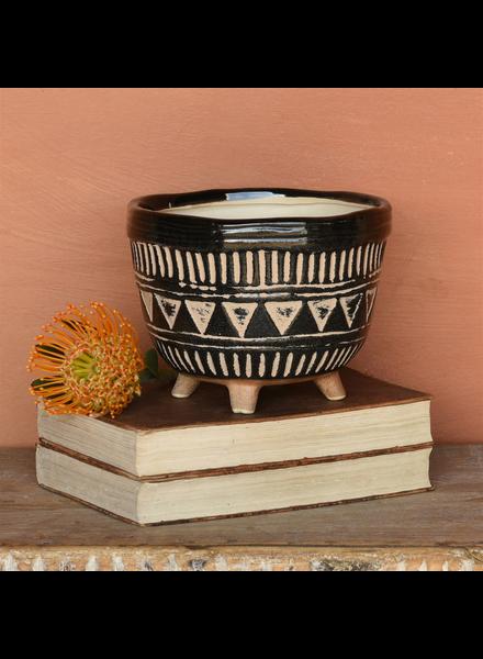HomArt Apache Print Bowl, Ceramic - Lrg - Black & Natural