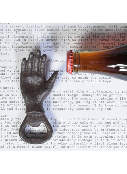 HomArt Brown Cast Iron Hand Bottle Opener - Set of 2