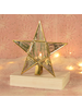 HomArt Antique Mirrored Star Tealight Holders, Glass & Brass - Med