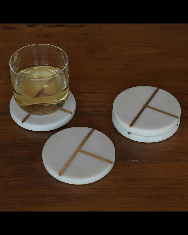 HomArt Aperture Coaster, Marble & Brass - Round, Set of 4