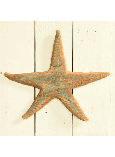 HomArt Kelso Wood Starfish, Distressed Blue - Light Blue