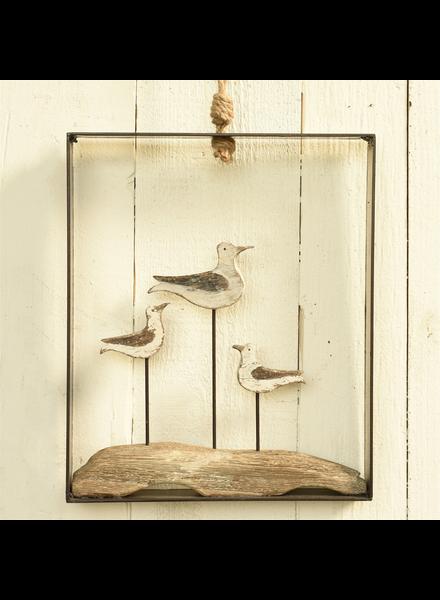 HomArt Framed Gulls, Wood and Metal - White & Natural Wood
