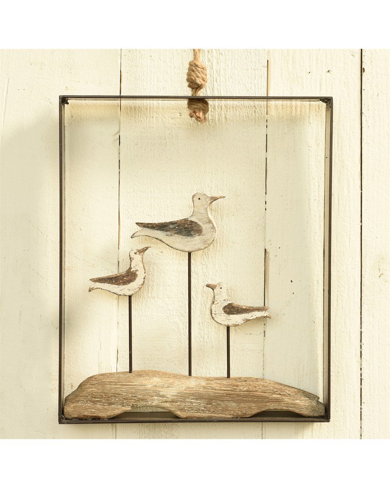 HomArt Framed Gulls, Wood and Metal - White & Natural Wood