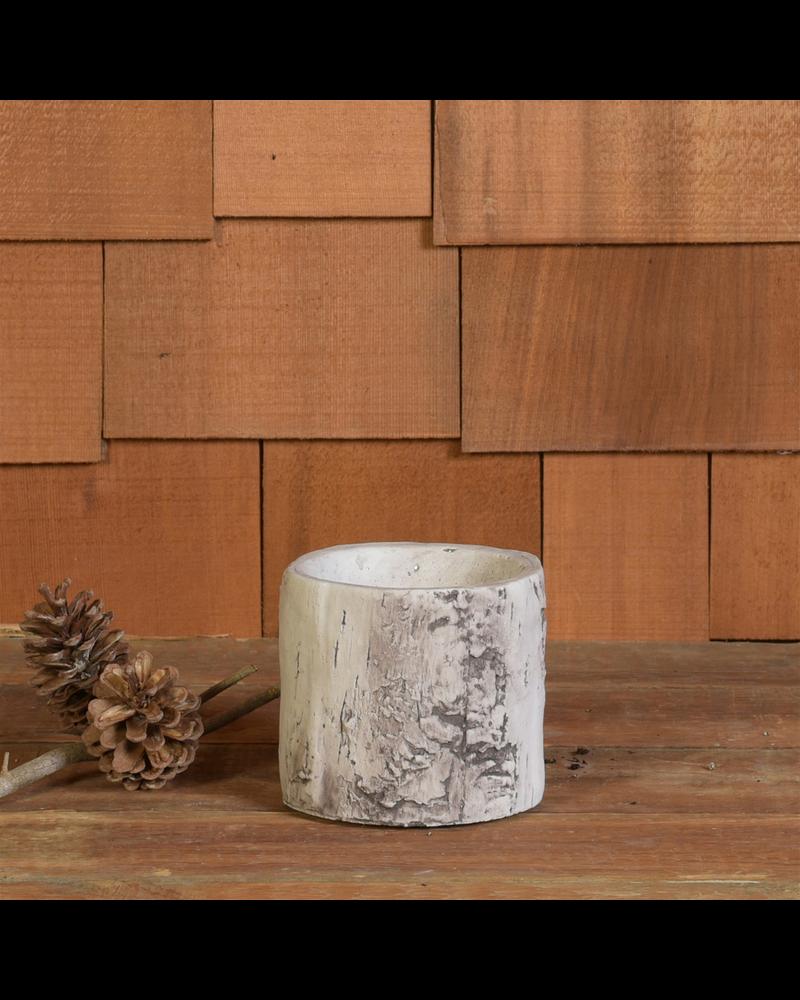 HomArt Faux Birch Cylinder, Cement - Sm - White - Set of 2