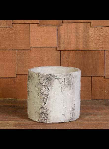 HomArt Faux Birch Cylinder, Cement - Lrg - White