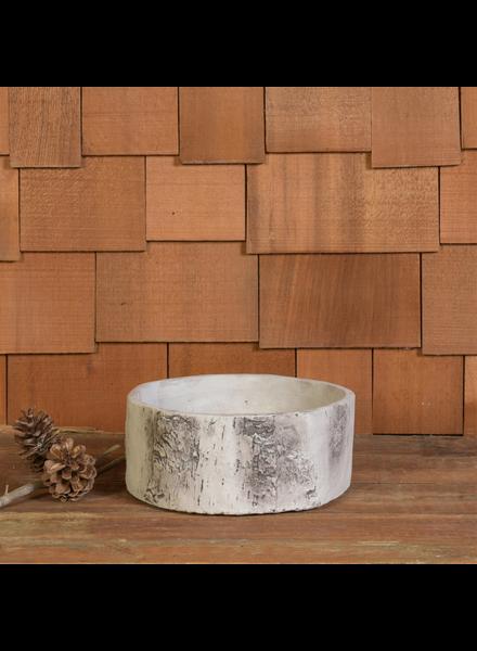 HomArt Faux Birch Cylinder, Cement - Low - White