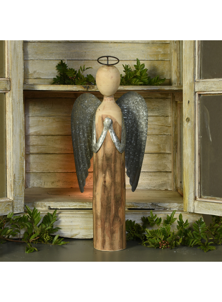 HomArt Angel at Prayer, Wood & Metal - Lrg