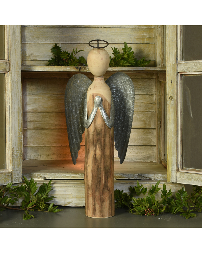 HomArt Angel at Prayer, Wood & Metal - Lrg