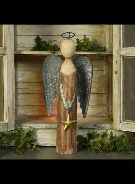 HomArt Angel with Star, Wood & Metal - Lrg