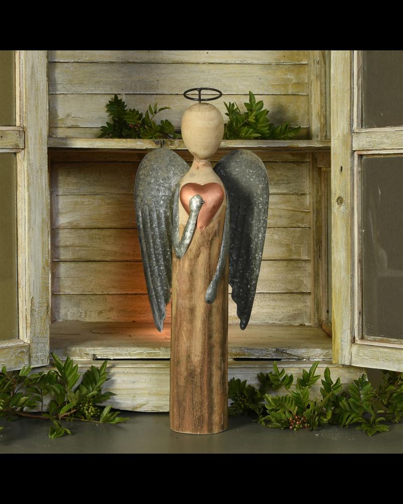 HomArt Angel with Heart, Wood & Metal - Lrg
