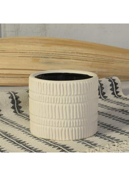 HomArt Moto Cachepot, Ceramic - Lrg - Matte White