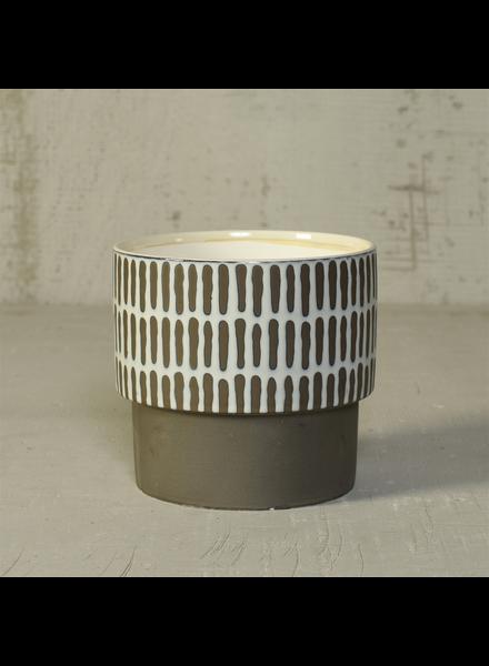 HomArt Portman Vase, Ceramic - Wide - White Top w Slip Glaze Grey Btm