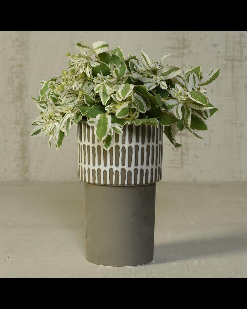 HomArt Portman Vase, Ceramic - Tall - White Top w Slip Glaze Grey Btm