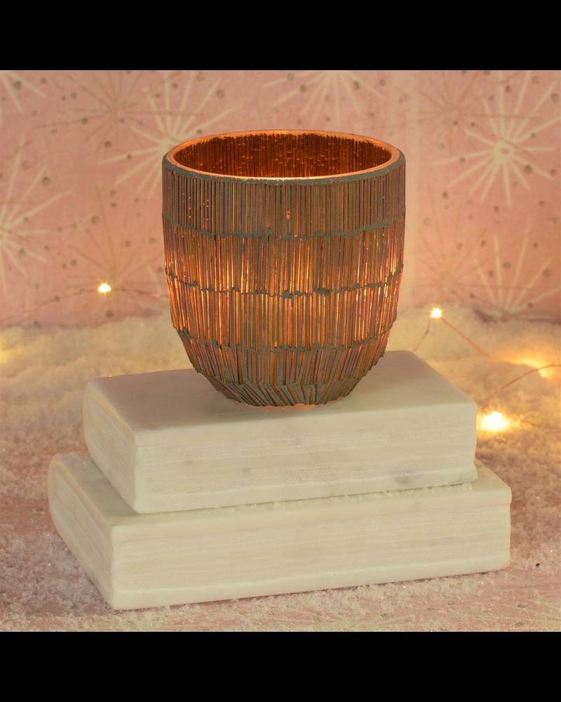 HomArt Mosaic Pipe Tealight Holder, Glass, Gold