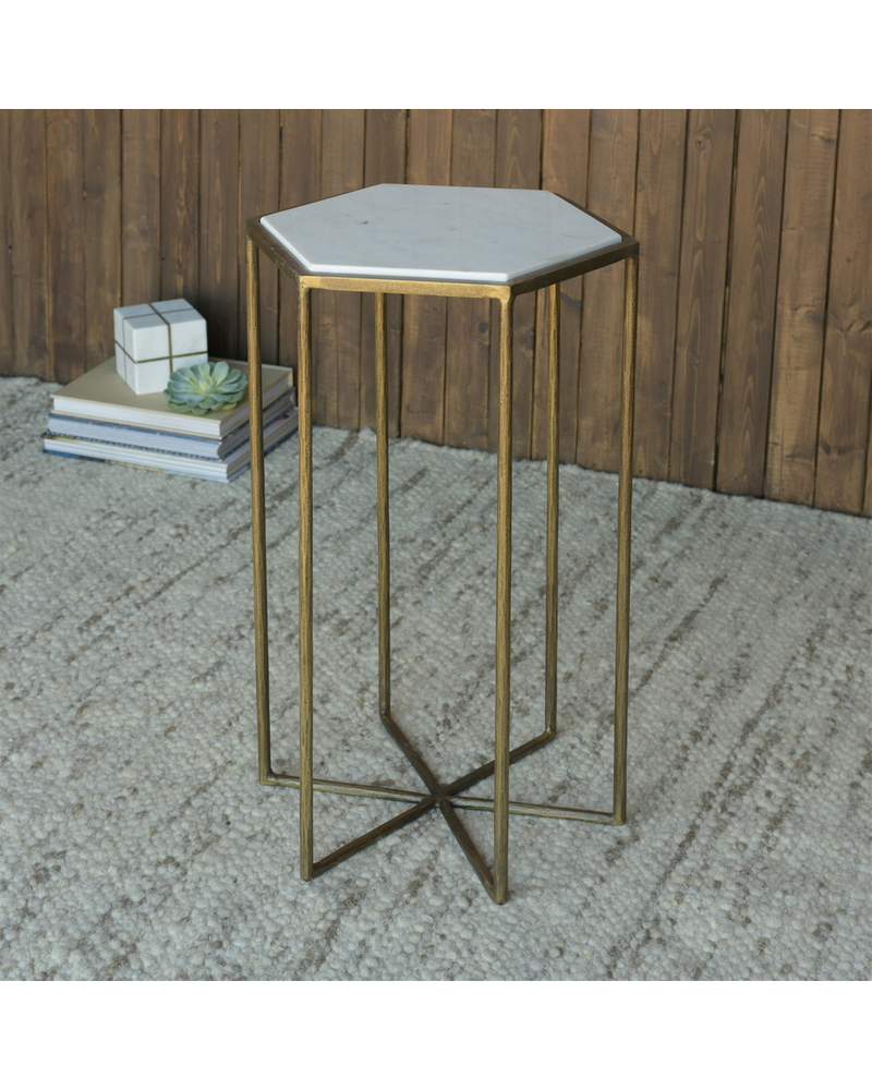 HomArt Apex Side Table, Brass & White Marble
