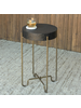 HomArt Echo Side Table, Brass & Black Stucco