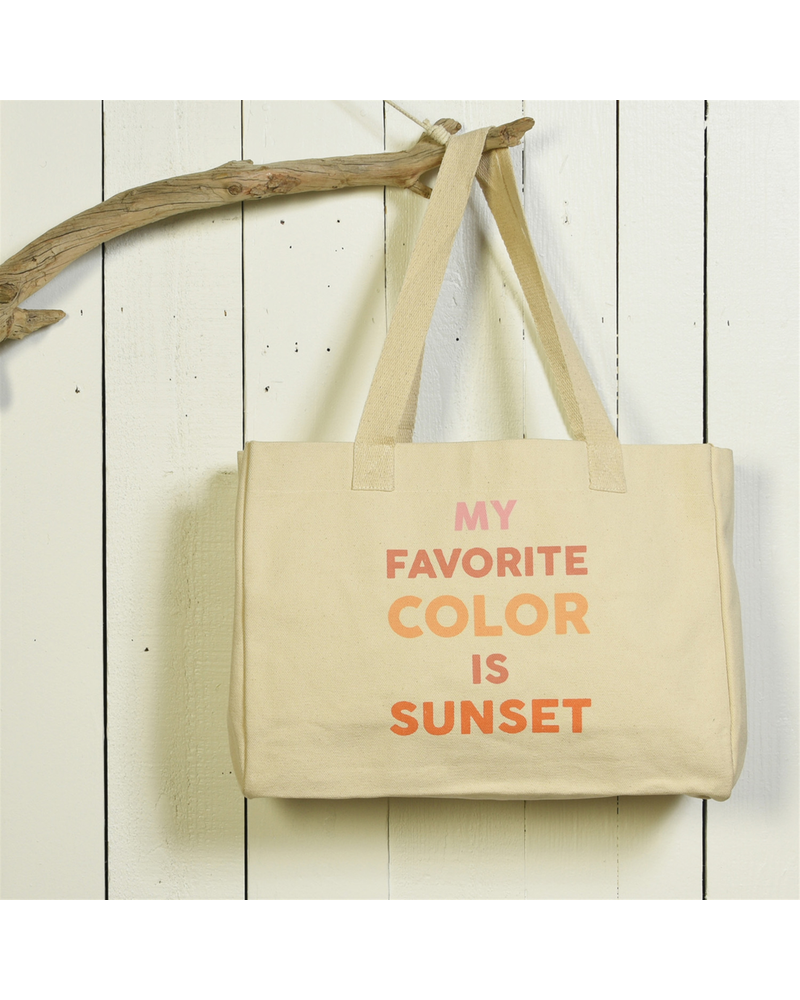 HomArt Beach Tote, Canvas - My Favorite Color Is Sunset