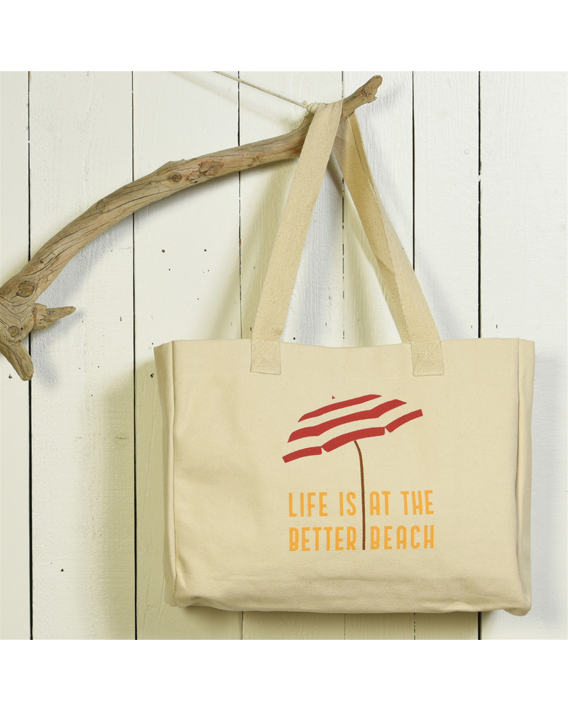 HomArt Beach Tote, Canvas - Life Is Better At The Beach