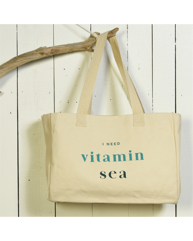 HomArt Beach Tote, Canvas - I Need Vitamin Sea