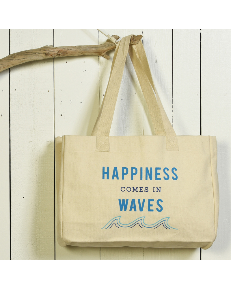 HomArt Beach Tote, Canvas - Happiness Comes In Waves