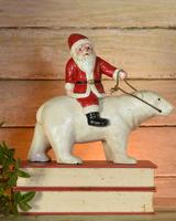 HomArt Polar Bear with Santa, Cast Iron