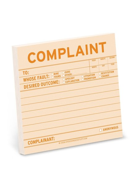 Complaint Sticky Note Pad