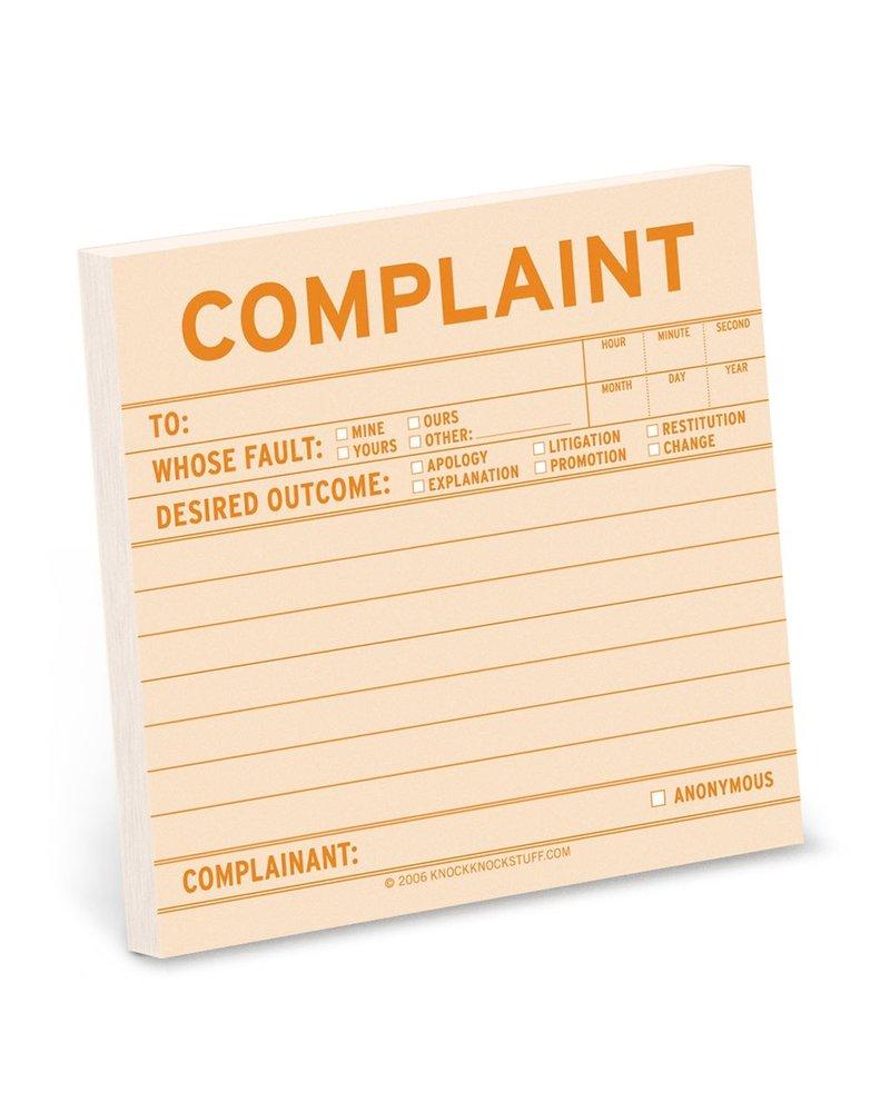 Complaint Sticky Note Pad