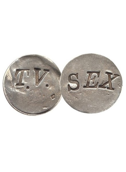 TV/Sex Pewter Flip Coin - Set of 2