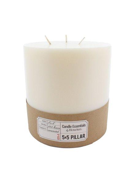 HomArt 5 x 5 Ivory Pillar Candle