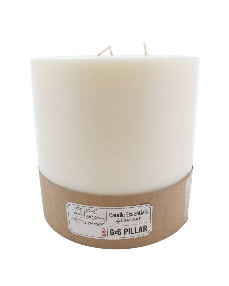 HomArt 6 x 6 Ivory Pillar Candle