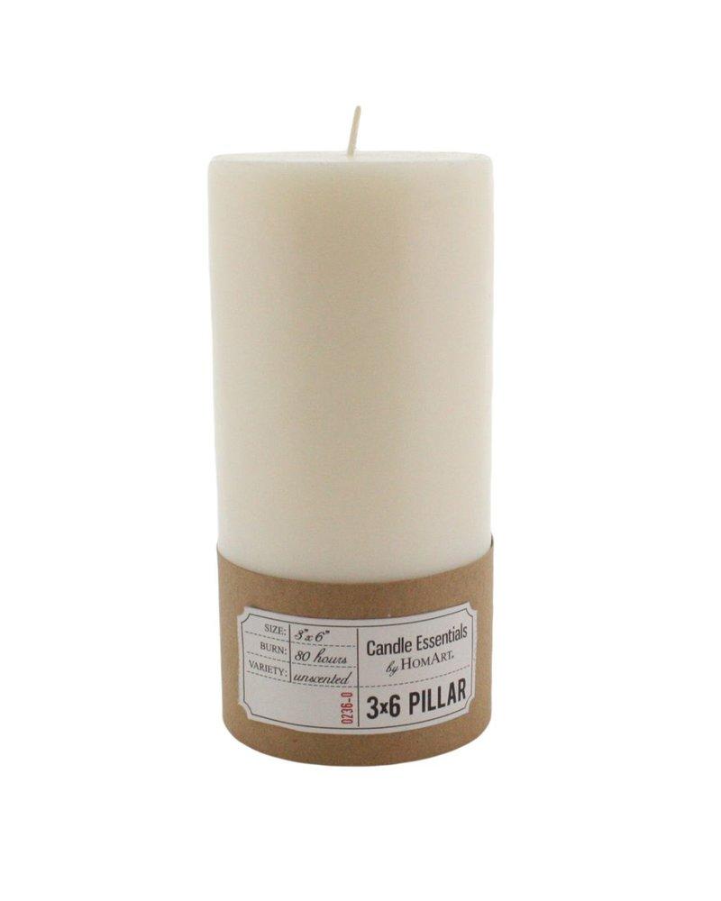 HomArt 3 x 6 Ivory Ivory Pillar Candle