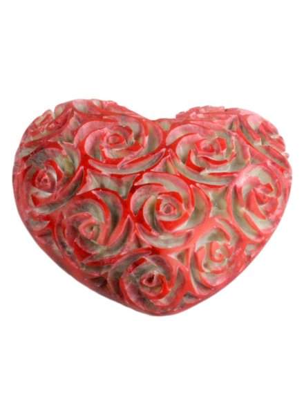 HomArt Sm Pink Soapstone Carved Rose Heart