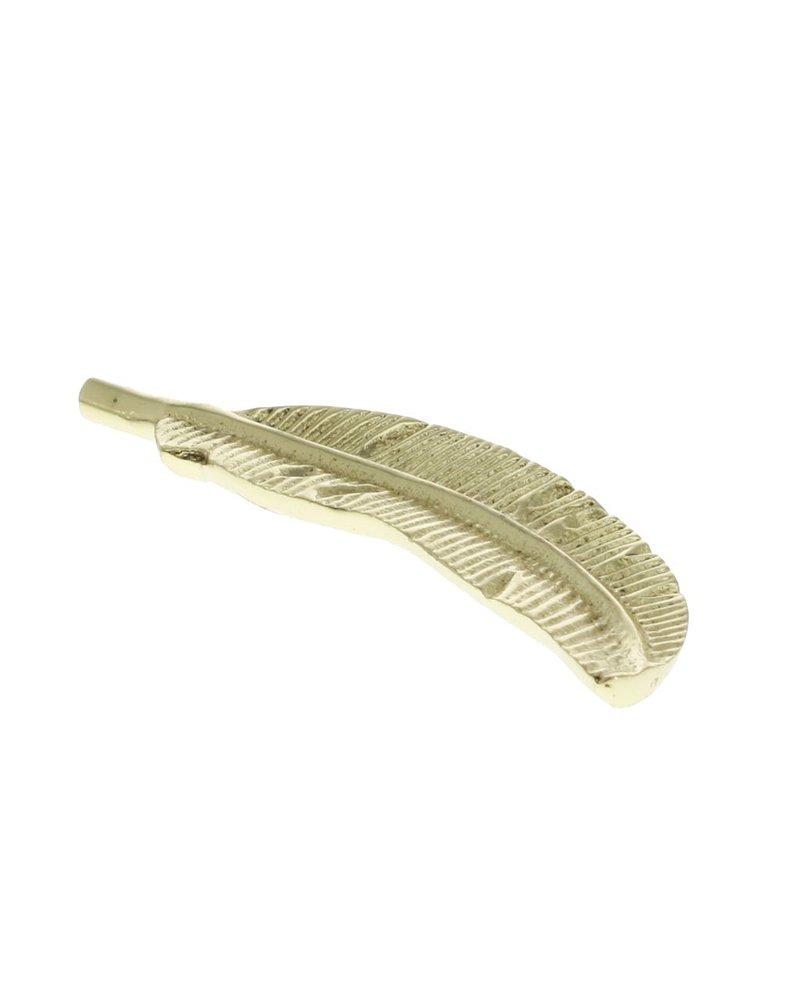 HomArt Cast Metal Brass Feather - Set of 2