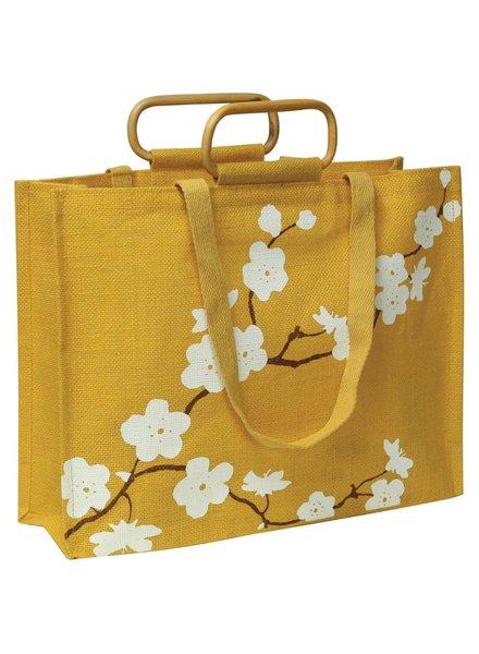 HomArt Jute Tote - Yellow Cherry Blossom