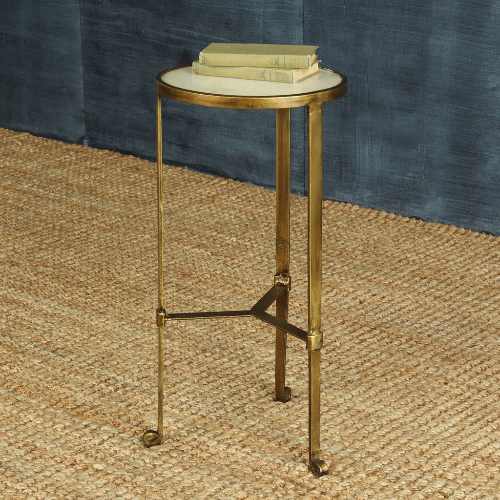 Homart Savoy Iron Stone Side Table Antique Brass With White